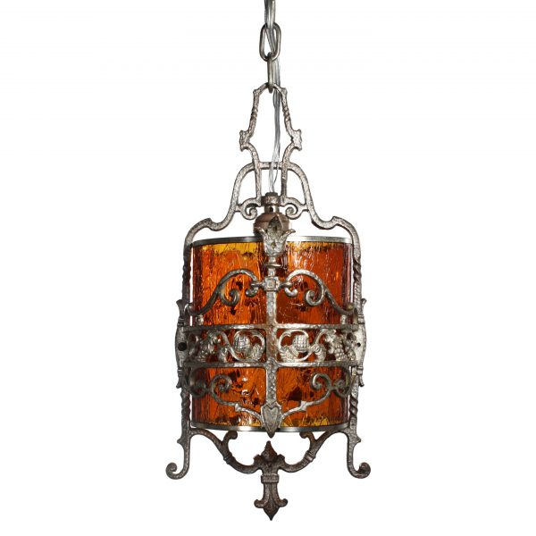 Antique Silver Plated Pendant Light, Fleur De Lis-0