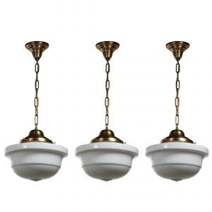 Antique Brass Schoolhouse Pendant Lights with Unusual Shade-0