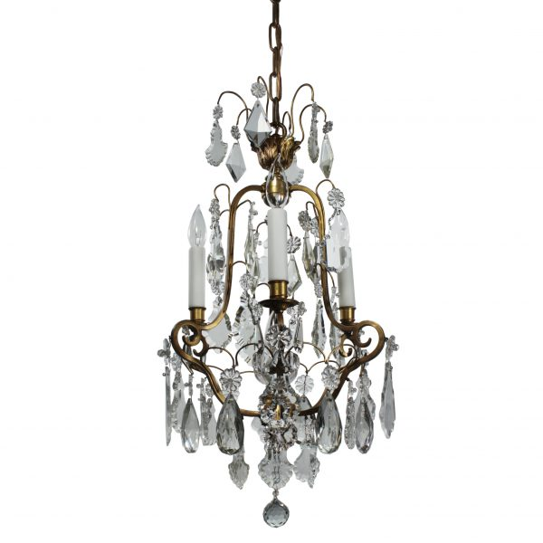 Antique Brass Neoclassical Chandelier with Prisms, c. 1910-0