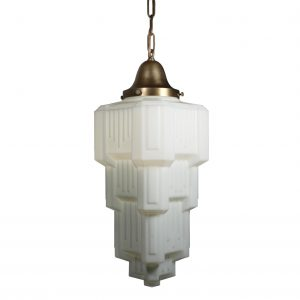 Substantial Antique Brass Art Deco Skyscraper Pendant Light, c.1920-0