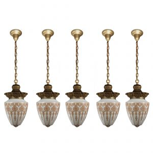 Antique Pendant Lights with Original Glass Shades-0