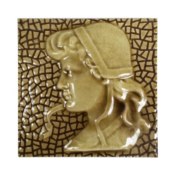 Antique American Figural Fireplace Tile, Girl-0