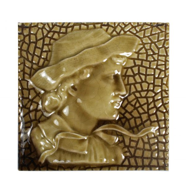 Antique American Figural Fireplace Tile, Boy-0