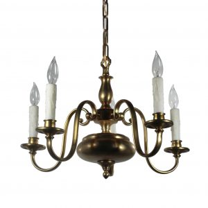 Antique Colonial Revival Brass Chandelier, Early 1900's-0