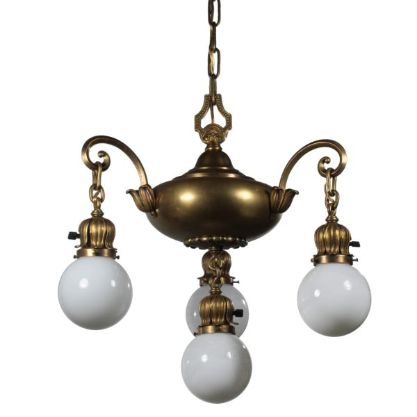 Antique Brass Chandelier with Glass Ball Shades, Early 1900s-0