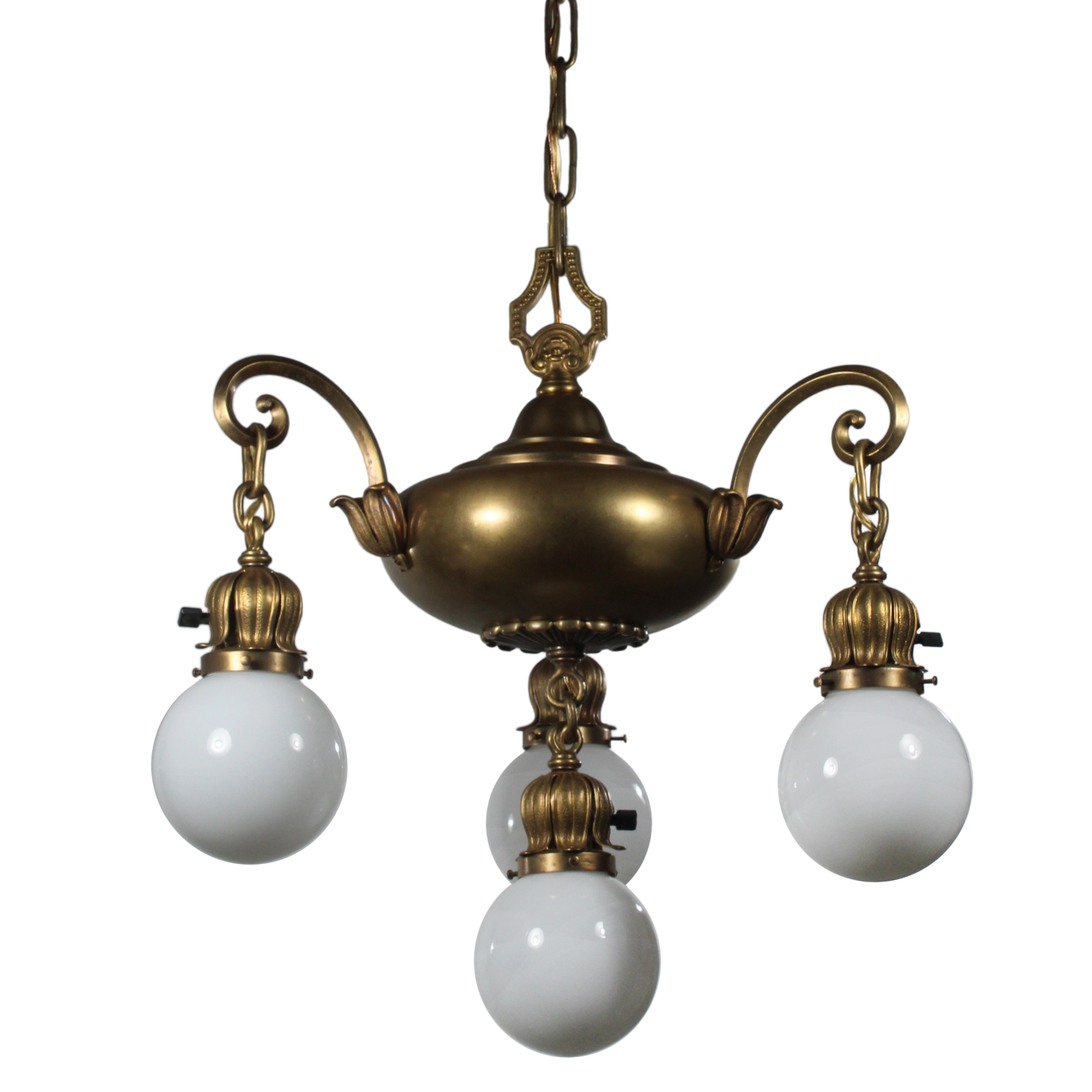 Antique Brass Chandelier with Glass Ball Shades, Early 1900s