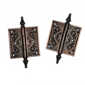 "Pair of Antique Cast Iron 4"" Hinges, 19th Century-0"