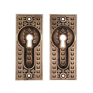 Antique Bronze Eastlake Pocket Door Plates, Late 19th Century-0