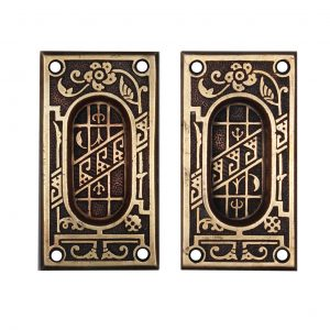 Antique Bronze Eastlake Pocket Door Plates, c. 1890-0