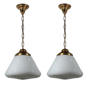 Brass Schoolhouse Pendant Lights, Antique Lighting-0