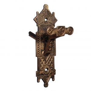 Figural Antique Cast Bronze Eastlake Doorbell Plate, c.1880-0