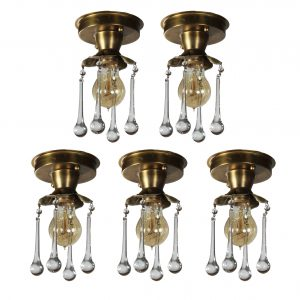 Brass Exposed Bulb Flush-Mount Lights with Teardrop Prisms, Antique Lighting-0
