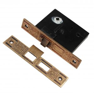 Antique Bronze Eastlake Mortise Lock and Striker, P.F. Corbin-0