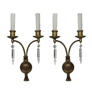 Antique Bronze Figural Double-Arm Sconce Pair, Caldwell-0
