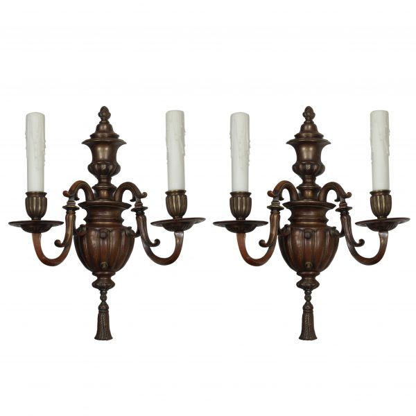 Pair of Antique Bronze Sconces by Caldwell-0