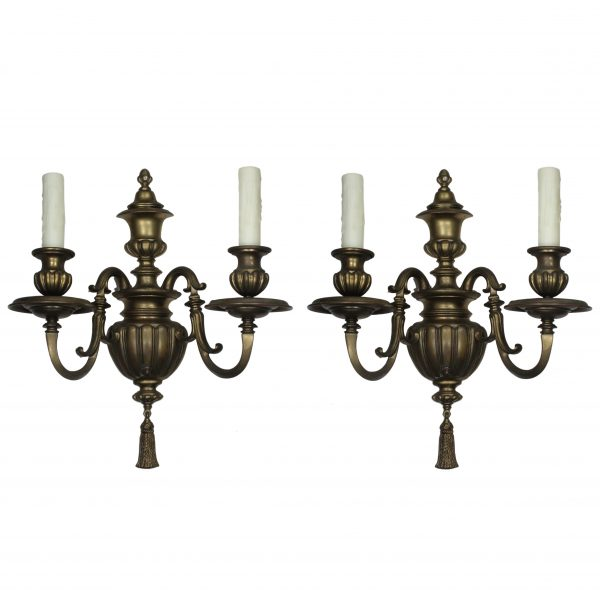 Pair of Antique Brass Sconces by Caldwell, c. 1915-0