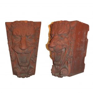 Antique Figural Terra Cotta Decorative Pieces, Lions-0