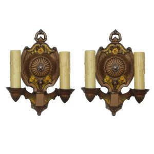 Antique Cast Iron Sconces with Original Polychrome, Markel Lighting-0