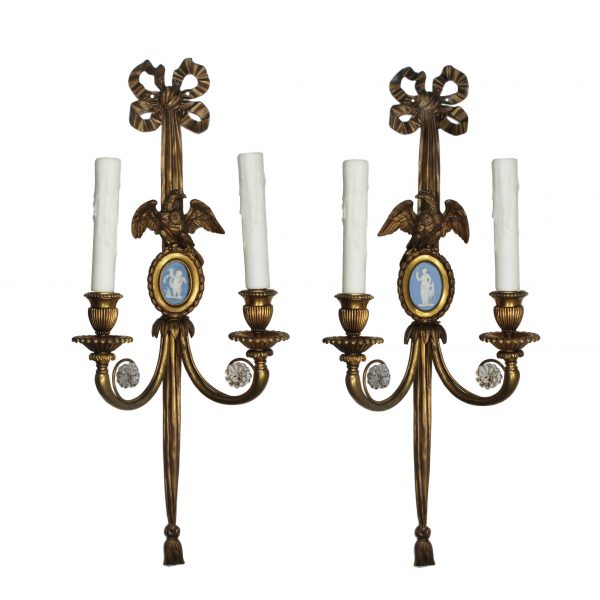 Pair of Antique Bronze Figural Sconces with Wedgwood Plaques-0
