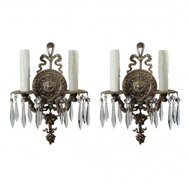 Pair of Antique Neoclassical Double-Arm Sconces with Prisms-0