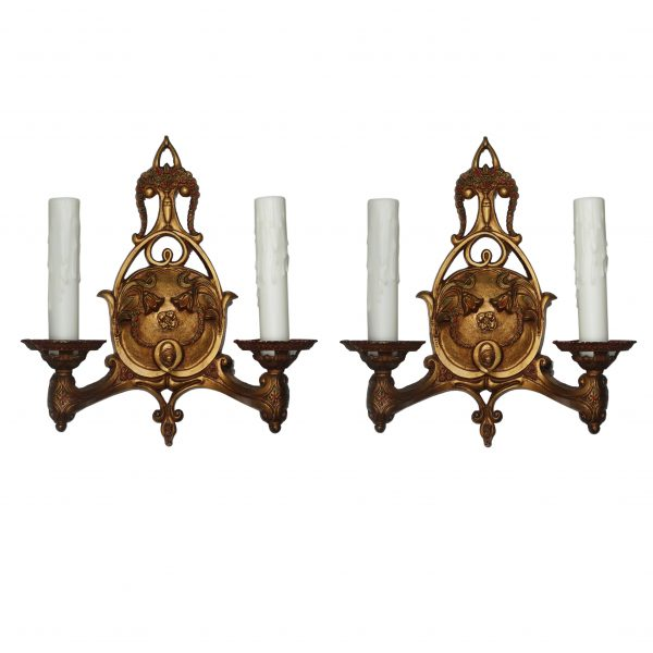 Neoclassical Double Arm Sconces with Original Polychrome, Antique Lighting-0