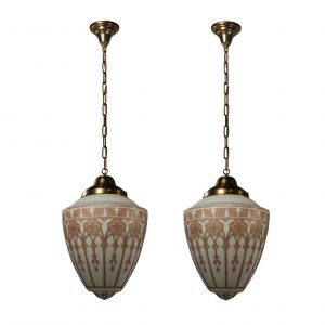 Matching Antique Pendant Lights with Original Glass Shades-0