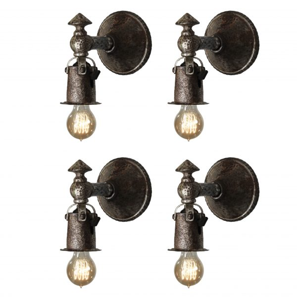 Matching Antique Cast Iron Tudor Sconce Pairs-0