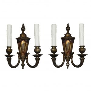 Pair of Antique Cast Bronze Adam Style Double-Arm Sconces-0