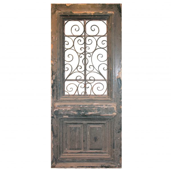 """Salvaged 39"""" French Colonial Door with Iron Insert-0"""