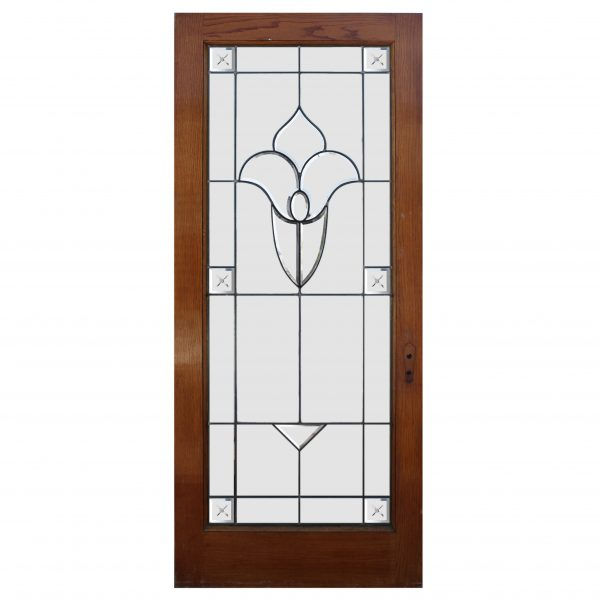 "Antique 35"" Oak Door with Leaded and Beveled Glass-0"