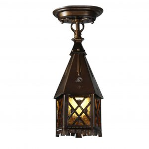 Tudor Lantern Flush Mount Lantern, Antique Lighting -0