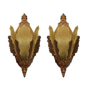 Pair of Antique Art Deco Pocket Sconces, Signed M.E.P. -0
