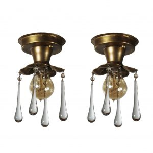 Antique Brass Exposed Bulb Flush-Mount Lights with Teardrop Prisms-0