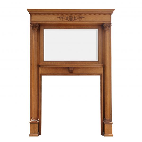 Antique Quartersawn Oak Mantel with Beveled Mirror, c. 1890-0