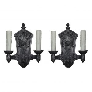 Pair of Antique Neoclassical Double-Arm Sconces, Pewter-0