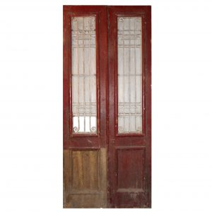 "Salvaged Pair of 44"" French Colonial Doors with Iron Inserts-0"