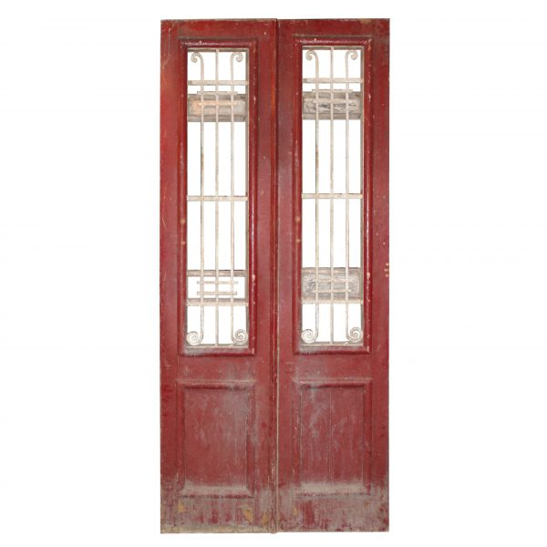 "Antique Pair of 44"" French Colonial Doors with Iron Inserts-0"
