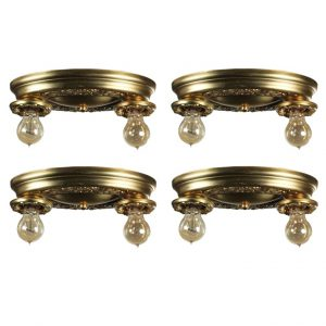 Antique Brass Two-Light Flush Mount Fixtures-0