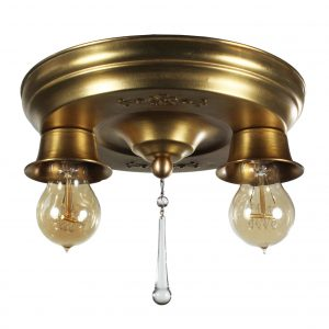 Neoclassical Brass Flush Mount Fixture, Antique Lighting-0