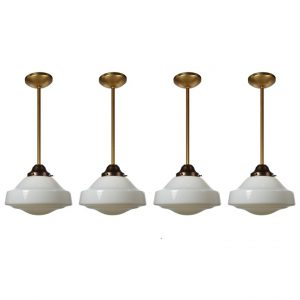 Antique Brass Schoolhouse Pendant Lights -0
