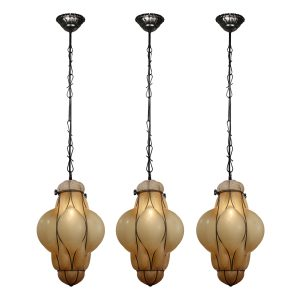 Vintage Pendant Lights with Blown Glass Shades-0