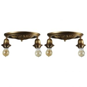 Matching Antique Brass Flush Mount Fixtures-0