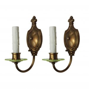 Pair of Antique Brass Sconces with Vaseline Glass-0