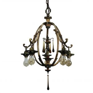 Antique Figural Five-Light Chandelier, Amber Prisms-0