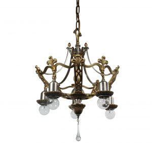 Antique Two-Toned Chandelier with Fleur De Lis, c.1920-0