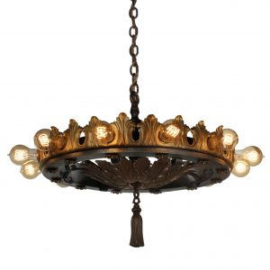 Substantial Antique Two-Tone Chandelier with Exposed Bulbs-0