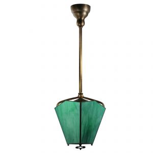 Antique Brass Gas Lantern, Green Slag Glass-0