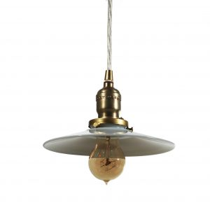 Brass Pendant Light with Milk Glass Shade, Antique Lighting-0