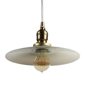 Antique Brass Pendant Light with Milk Glass Shade -0