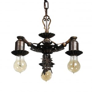 Antique Art Deco Three-Light Chandelier, Early 1900s-0